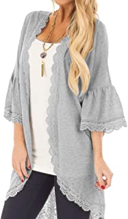 Spadehill Women's 3/4 Bell Sleeve Kimono Cardigan with Sheer Lace Details