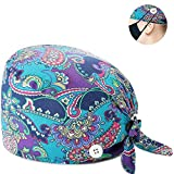 NDLBS Working Cap with Buttons Sweatband Adjustable Tie Back Hats Printed for Women Men