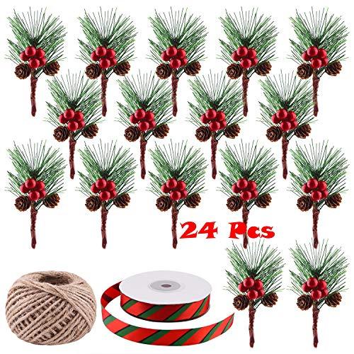 TUPARKA 24 Piezas Pequeñas selecciones de Pino Artificial con Bayas Rojas para Adornos navideños Decoración de guirnaldas, Cinta navideña y Cuerda de cáñamo para Bolsas de Regalo Decoraciones
