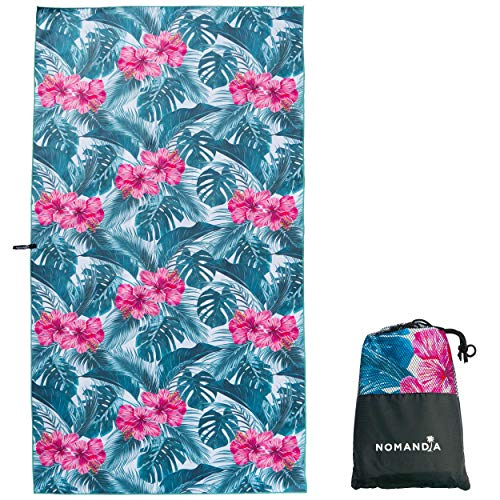 Nomandia Microfibre Beach Towel Extra Large - 180x90cm Sand Free Lightweight & Quick Dry Microfibre Towel and Carry Bag - This travel towel is perfect for Beach, Swimming, Gym, Yoga & Cruise