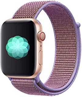 Nylon Sport Band for Apple Watch 40mm 38mm, Soft Replacement Strap for iWatch Series 4/3/2/1 (Lilac)