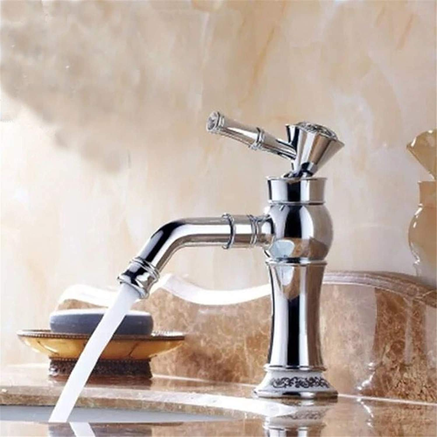 YAWEDA Bathroom golden Noodle Pot Faucet Kitchen Table Pot Cold Water Mixer Single Handle Bathroom Faucet,Electroplating Dwarf