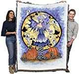 Haunted Pumpkin - Amy Brown - Cotton Woven Blanket Throw - Made in The USA (72x54)