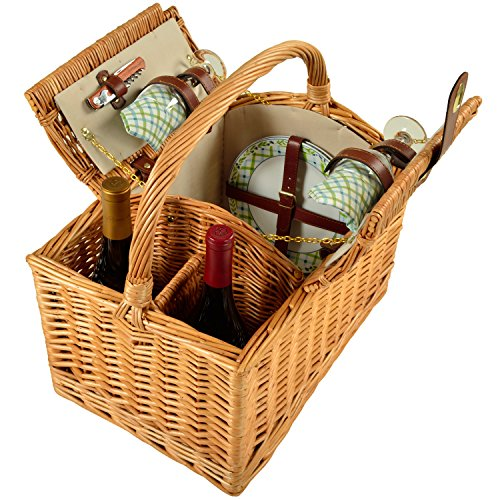 Picnic en Ascot viñedo cesta de Picnic para 2 talla única Wicker with Gazebo Plates/Napkins
