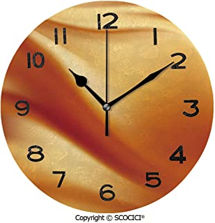 SCOCICI Print Round Wall Clock, 10 Inch Abstract Colors in Wavy Composition Energy Fantasy Romantic Tender Curves Decorative Quiet Desk Clock for Home,Office,School