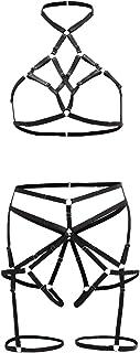 SheIn Women's Strappy Lingerie Bodysuit High Waisted Garter Belt Set with Choker