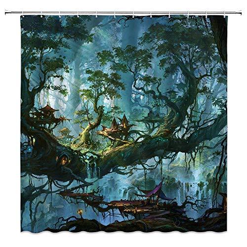 N\A Fantasy Magic Forest Duschvorhang Schloss Wasserfall Alter Baum Sky Island Kinder Anime Polyester Stoff Badezimmer Dekor Set mit Hakenloch