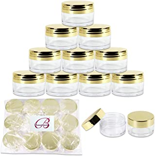 Beauticom 20g/20ml USA Acrylic Round Clear Jars with Lids for Lip Balms, Creams, Make Up, Cosmetics, Samples, Ointments and other Beauty Products (48 Pieces, Gold Lid (Flat Top))