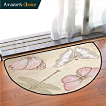 DESPKONMATS Vintage Livingroom Rug, Butterflies Bugs Old Collector Image on Abstract Retro Backdrop Art Printed Door Mat Bedroom Bathroom Washable Machine W27.5 x R15.7 Inch Light Pink and Light Grey