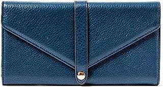 Sasha Leather Trifold Wallet w/Mirror Marine Blue Leather