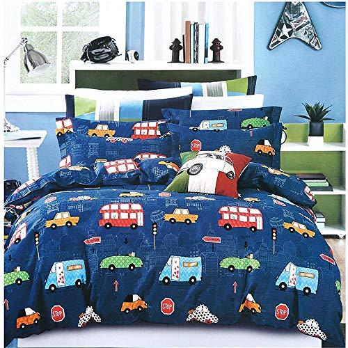 XYXSS 3D Print Boy Duvet Set Blue Cute Cartoon Car Boy4Pc Easy Care - Quilt Cover, Pillowcase, Bed Sheet - Super Soft Polyester Cotton Girl Bedding Suit(260 X 230 Cm)