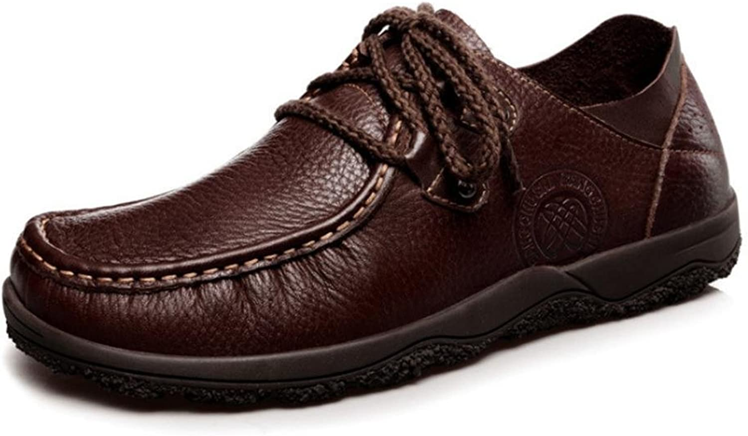 Men'S shoes Leather Casual Rubber Vintage Boat Business Clipper Lace Up Loafers Flat Brown Size 39 To 45
