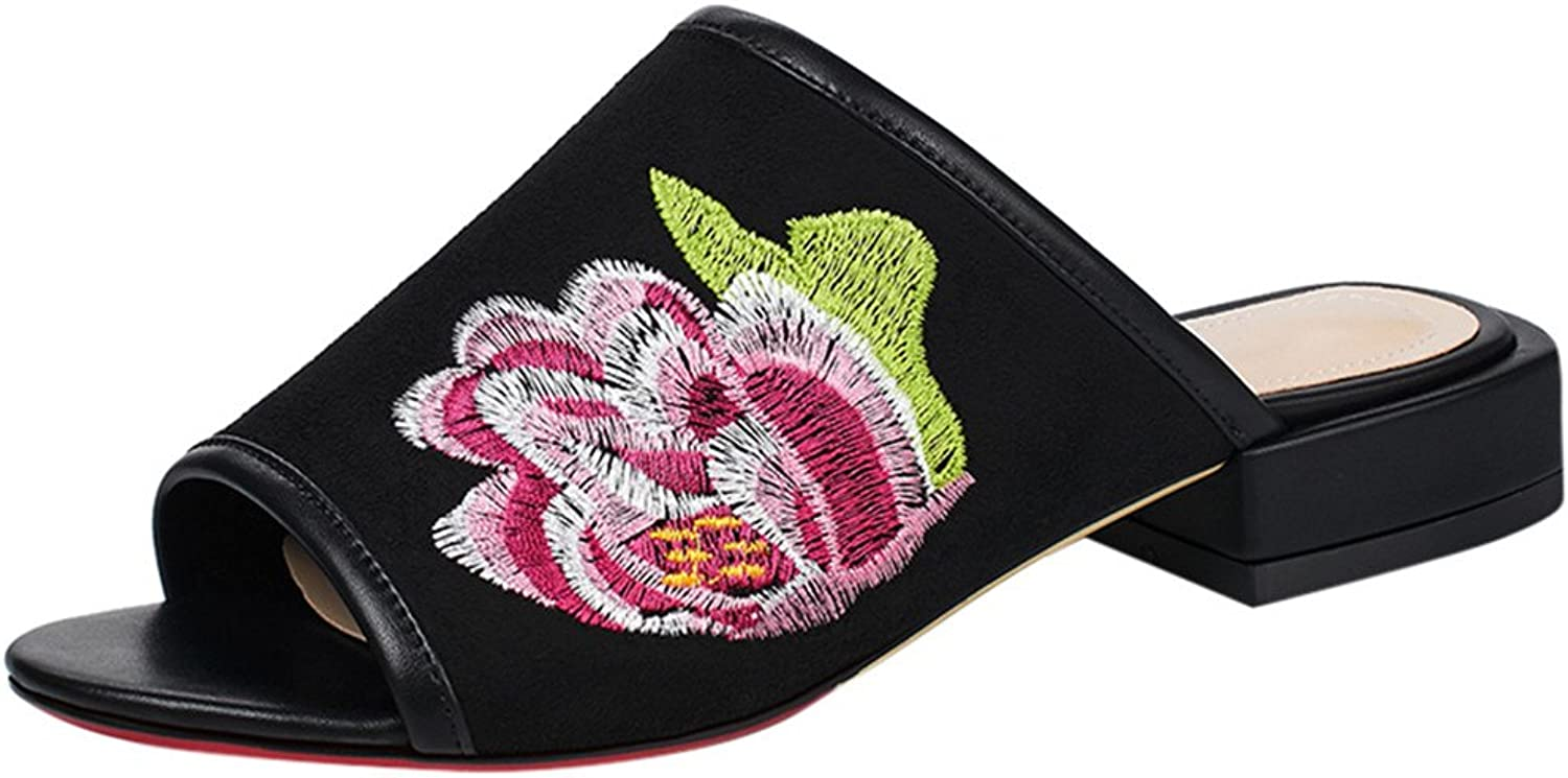 Vitalo Women's Low Block Heel Floral Embroidery Mules Slip On Peep Toe Slide Sandals