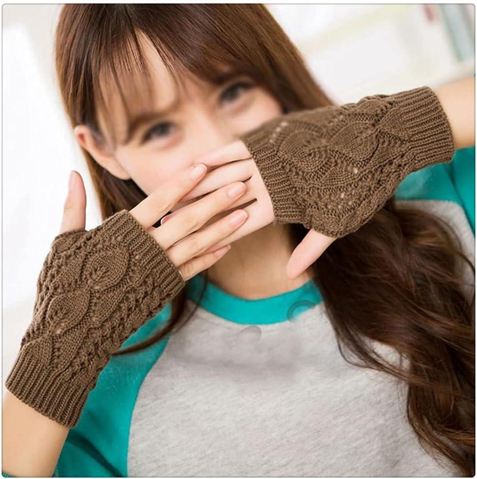 WBDL Women Gloves Stylish Hand Warmer Winter Gloves Women Arm Crochet Knitting Mitten Warm Fingerless Gloves (Color : Old Khaki)