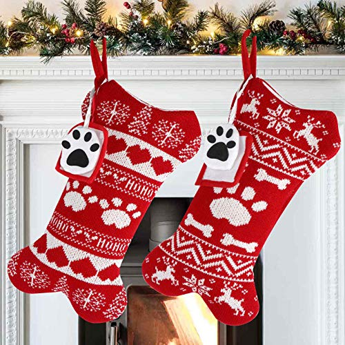 OurWarm 2Pcs Dog Christmas Stockings, Red Knit Dog Stockings with Picture Frame, Large Bone Shape Pet Stockings for Dogs Christmas Holiday Decoration