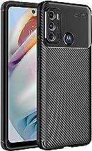 TheGiftKart Rugged Carbon Fibre Armor Back Case Cover for Motorola Moto G60 G40 Fusion Shockproof Protective Stunning Minimalist Design Black