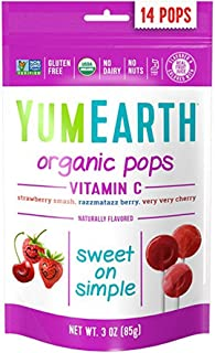 YumEarth Organic Vitamin C Lollipops, 14 Lollipops (Pack of 6), Gluten Free, Vegan (Packaging May Vary)