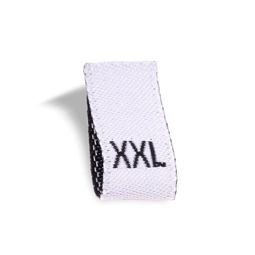 Wunderlabel Adult Size Label Woven Crafting Craft Art Fashion Ribbon Ribbons Tag for Clothing Sewing Sew on Clothes Garment Fabric Material Embroidered Label Labels Tags, White, XXL 50 Labels