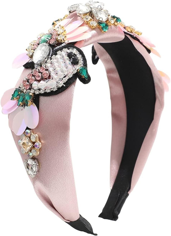 JIAQ Designer Sequins Fabric Knot Headband Flower Birds Crystal Rhinestone Hairband Headdress Female Headbands Hair Accessories (Color : Pink)
