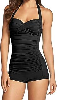 Sovoyontee Women's One Piece Tummy Control Swimwear Boyleg Ruched Swimsuit