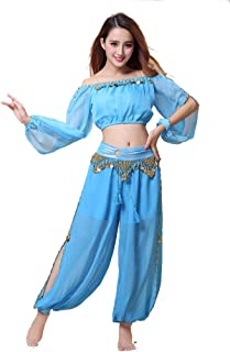 Belly Dance Chiffon Long Sleeves Top and Lantern Coins Pants