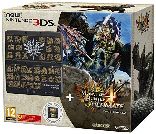 Nintendo New 3DS + Monster Hunter 4 Ultimate Ltd Ed - videoconsolas portátiles (New Nintendo 3DS, ARM11, 268 MHz, Negro, Analogue / Digital, D-pad, Select, Start)