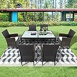 QWEPOI Juego de muebles de jardín de ratán, con mesa y 6 sillas y mesa, color marrón