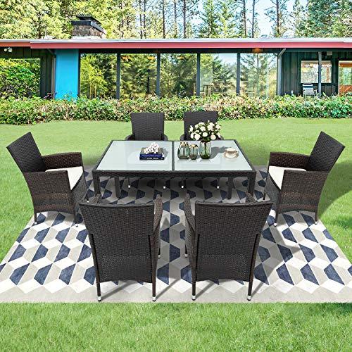 Leisure Zone Polyrattan Sitzgruppe Sitzgarnitur Essgruppe Esstisch Lounge Set Gartenmöbel Set Rattan Balkonmöbel Gartengarnitur Wetterfest mit 6 Stühle & Tisch Braun
