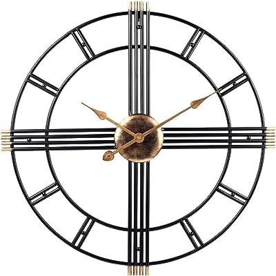 PUMERIT Wall Clock Modern Metal Big Wall Clock 23.6 Inch Handmade Silent Not-Ticking Indoor