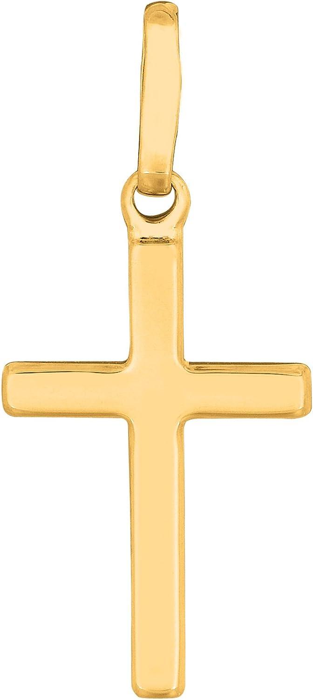 14k Yellow Gold Shiny Square Flat Style Cross Pendant