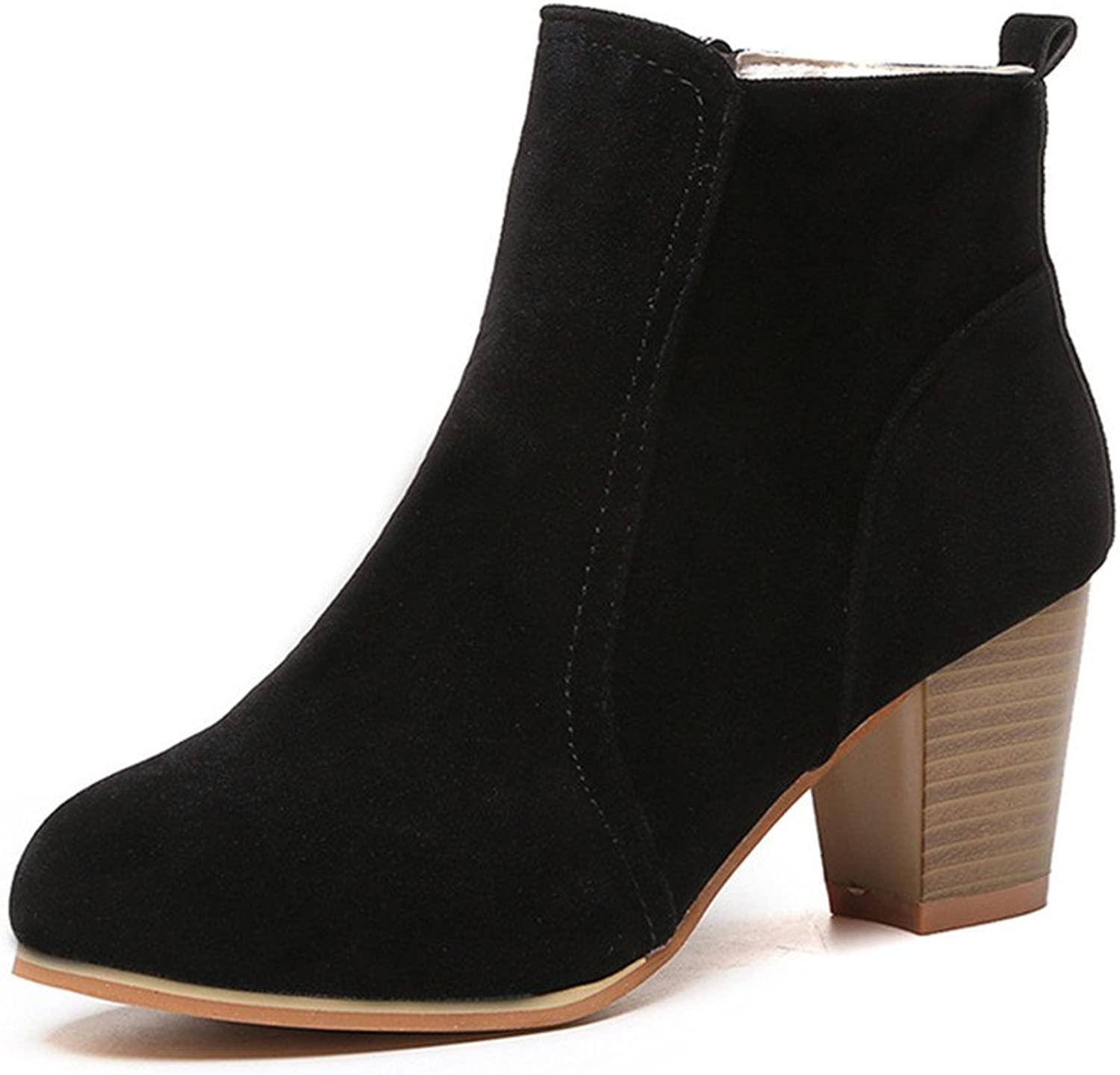 Julitia Women Heels Ankle Boots for Women 2019 New Faux Suede Female Boots Autumn
