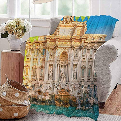 Italy Children's Blanket Fountain Di Trevi Famous Travel Destination Tourist Attraction European Landmark Lightweight Soft Warm and Comfortable W91 x L60 Inch Multicolor