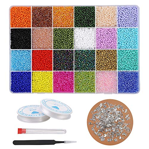 Glass Seed Beads 33600 Pcs 2mm Small Mini Beads 24 Colors Loose Beads Kits with 50 Silver Charms and Storage Box for Bracelets Necklace Beading and Jewelry Making by PartyFUN