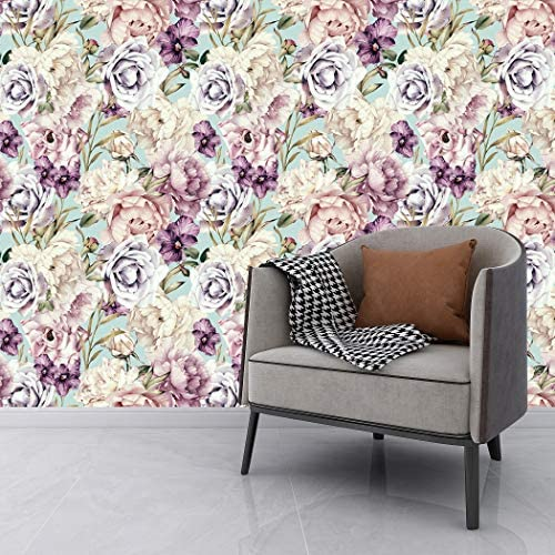 Flower Wallpaper Paper for Wall Peel Stick Wallpaper Purple Pink White Flowers Blooming Vinyl product image