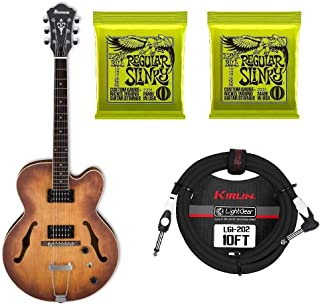 Ibanez Artcore AF55 Hollow-Body Electric Guitar Tobacco Flat Including 2 Sets of Strings and Instrument Cable