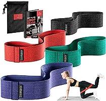 Resistance Band Fitnessbanden Rubber/Stof Set - Weerstandsbanden + Trainingshandleiding | Booty Loop Gymnastiekband...