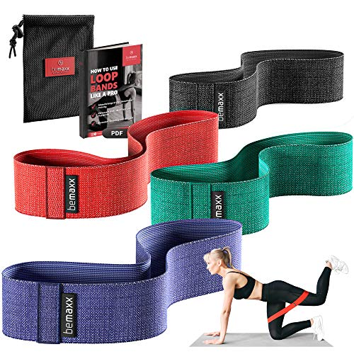 Weerstandsbanden Set - 4 Stof Loop Elastiek Fitnessbanden + Trainingsgids | Textiel Resistance Band Fitness Training Sport Thuis Workout | Gymnastiek Krachttraining Trainingsbanden Mini Gymnastiekband