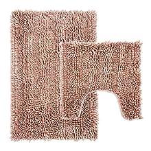 Juego de alfombrillas de baño de chenilla de lujo de 2 piezas, 31 x 20 pulgadas, alfombra de baño más 50 x 20 pulgadas en forma de U con respaldo antideslizante, súper absorbente, juego curvado, rosa