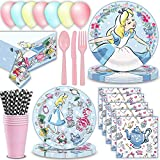 Alice in Wonderland Party Supplies for 16 - Large Paper Plates, Dessert Plates, Cutlery, Napkins, Cups, Straws, Table cover - Great Tableware Set w/ Alice, Rabbit, Mad Hatter, Tea Cup, Cheshire Cat & Others