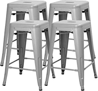 Yaheetech 24 Inches Metal Bar Stools High Backless Indoor/Outdoor Counter Height Stackable Stools Kitchen Counter Chair Island Set of 4 Silver, 331 lb (Renewed)