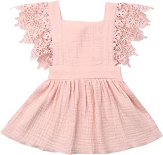 Toddler Baby Girl Infant Comfy Cotton Linen Lace Princess Overall Dress Sundress