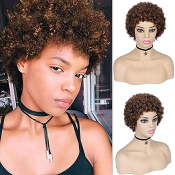 WIGER Afro Kinky Curly Wig Medium Brown Short Afro Wigs Brazilian Virgin Human Hair Wigs for Black Women