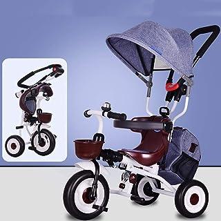 Babyvagn bärbar och lätt hopfällbar barnvagn för småbarn och barn, barn 3-hjuls pedal trick med uppblåsningsfria däck, för...