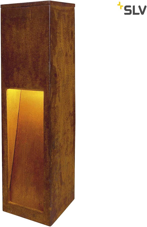 SLV LED Pollerleuchte RUSTY SLOT 50  Premium Standleuchte zur individuellen Auen-Beleuchtung im Rost-Design  Outdoor Wege-Leuchte, Sockellampe, Einfahrt-Beleuchtung, Garten-Lampe  LED inklusive