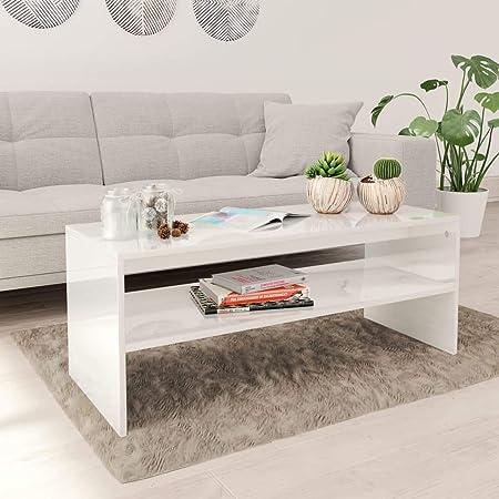EBTOOLS Set di 2 Tavolino Divano di caff/è Triangolari Colore Bianco Tavolino da Salotto Legno Tavolo Rotondo da caff/è Tavolinetto da Salotto per Soggiorno Balcone Ufficio