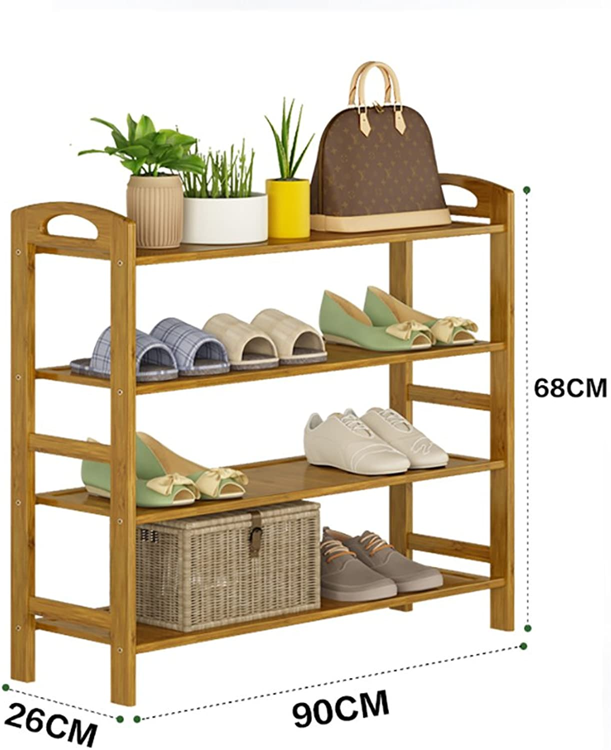 shoes Bench Organizing Rack Natural Bamboo shoes Rack Four-Layer Unit Shelf Simple Storage Shelf (Size   90  26  68cm)
