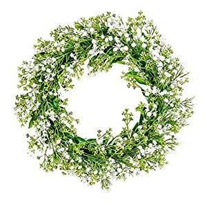 MELAJIA Baby's Breath Artificial Flowers Wreaths for Front Door White Faux Baby Breath Flowers Wreath Gypsophila Garland for Wall Home Decor Indoor Outdoor…