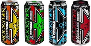 Rockstar Xdurance Variety Pack - Smashed Blue, Ripped Red, Super Sours Green Apple, Peach Ice Tea, 16fl.oz (Pack of 8)
