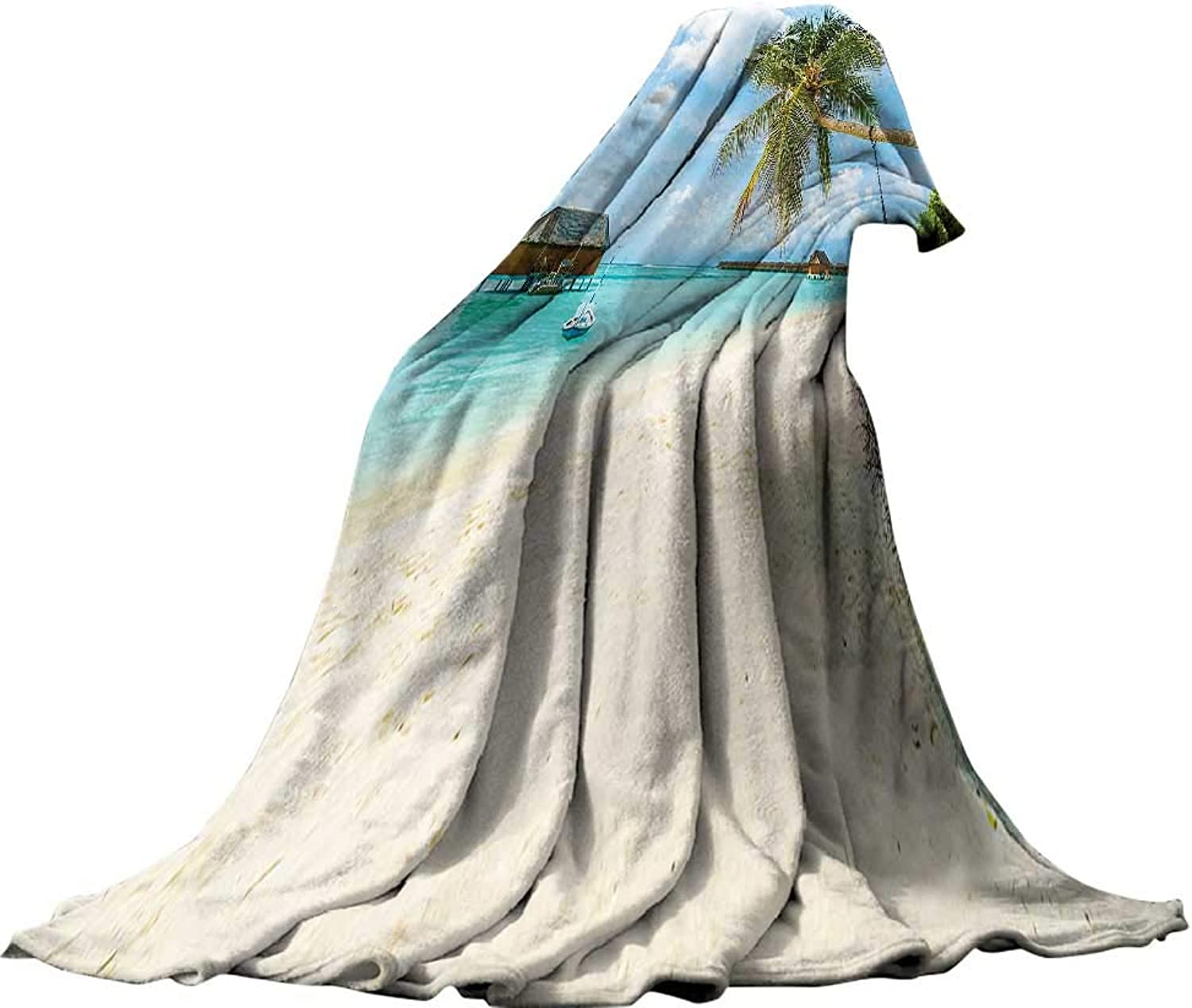 QINYAN-Home Super Soft Blanket (62 x60 ) Summer Quilt Comforter Ocean Decor Exotic Beach in The Maldives with Crystal Waters and Palm Trees on The Sand Tropical Decor ES Multicolor.