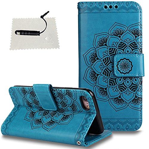 "TOCASO TOCASO iPhone 7/8 4.7"" Hülle Rot Mandala Blumen, Handyhülle Flip iPhone 7/8 4.7"" Handytasche Klapphülle Wallet Case Holster Ständer und Kartenfächer Magnet Schale -Mandala Blau"